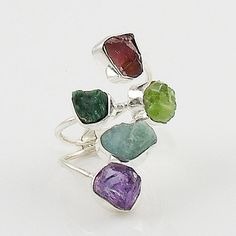 Amethyst, Aquamarine, Chrome Diopside, Peridot & Garnet Rough Sterling Silver Ring