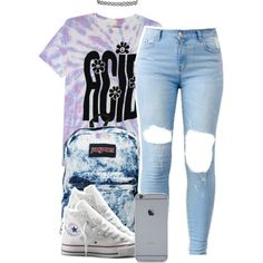 12:21:14 by codeineweeknds on Polyvore featuring Converse, JanSport and Topshop