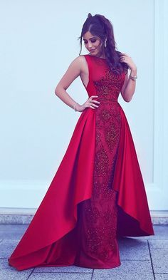 Prom Dresses Simple, A-Line Round Neck Asymmetry Red Stretch Satin Prom Dress with Lace Beading, A long dress makes an elegant statement at any formal event whether it is prom, a formal dance, or wedding. Formal Evening Dresses, Elegant Dresses, Evening Gowns, Beautiful Dresses, Prom Dresses, Red Formal Gown, Evening Party, Dress Luxury, Engagement Dresses