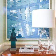 entry design with biedermeier chest | art by lisa dawn gold | green grasscloth wall coverings | turquoise glass cast sculpture | blue print | blueprintstore.com