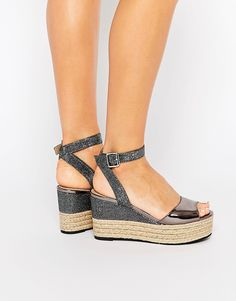 Head Over Heels By Dune Kalmia Black Wedge Espadrille Sandals