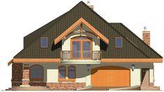 Elewacja frontowa projektu Kraska z garażem 2-st. [A] Modern Bungalow House, Beautiful Homes, Cabin, Mansions, Architecture, House Styles, Home Decor, Villas, Household
