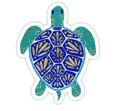 'Sea Turtle – Navy & Gold' Art Print by Cat Coquillette