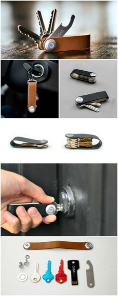 Orbitkey Is The Better Way To Carry Your Keys Orbitkey uses a locking mechanism that holds your keys together eliminating any rattling and stopping them from ruining your pockets or the inside of your bag. Porte Diy, Things To Buy, Good Things, Diy Cadeau, Ideias Diy, Leather Projects, Leather Working, Leather Craft, Inventions