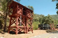 Yosemite Valley Railroad Twin-tank Water Tower and Hetch Hetchy RR Engine #6 Photo, Click for full size