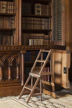 Chair that converts into steps, in the Library at Penrhyn Castle, Gwynedd, built 1820-1832