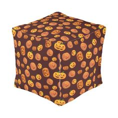 Halloween Jack-O-Lantern Pumpkin Pattern Outdoor Pouf - halloween decor diy cyo personalize unique party
