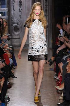 laser cut leather at Giles #LFW #SS2013 #trends #blackandwhite