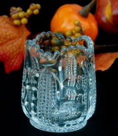 EAPG Antique Glass A.H. Heisey PUNTY & DIAMOND POINT Toothpick Holder c1900 $250