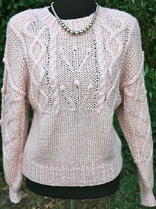 LIZ-CLAIBORNE-Vintage-Hand-Knitted-Sweater-Earthy-Pink-Petite-Small