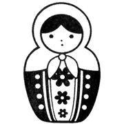 cute matryoshka stamp doll dots flowers no7 - Stamps - Stationery - kawaii shop modeS4u