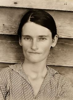 This picture is from 1935, and is a portrait of a Sharecropper Woman. The woman pictured is Allie Mae Burroughs. The picture was taken in Alabama.