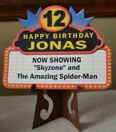 Movie Birthday Party Decoration, Movie Theme, Movie Night Party Door Sign Marquee 3-D - CUSTOM Message