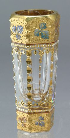 Moser glass cordial decorated with gilt bands