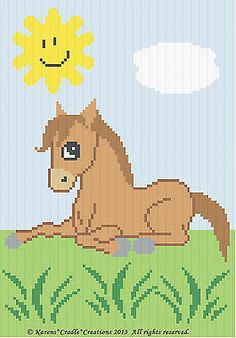 узоры для вязания крючком-милый pony/horse цвет график Baby АФГАНСКИЙ узор