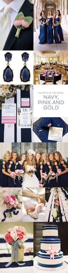 Navy, Pink, & Gold Decorate and style outside the lines at your party or reception table setting with these totally chic Striped Table Runners, available in 5 tasteful colors! With it's modern twist to this favorite signature pattern, these high quality premium table runners set over your table cloths and event decor are bound to step onto a whole new standard for trend-setting style!