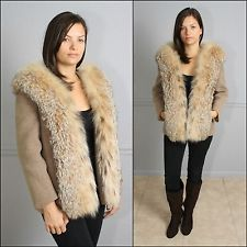 Stunning Vintage 50s Tweed Wool and Large Collar Lynx Fur Jacket S M