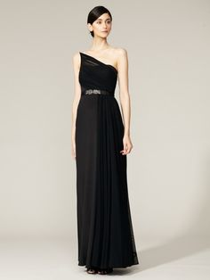 Jewel Belted One-Shoulder Gown by ML Monique Lhuillier on Gilt.com. Stunning gown.