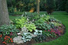 Hosta garden layout with annuals thedesignconfidential.com (Fine Gardening photo)