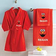 Send Elmo Hand Towel, Bath Towel And Robe from Personal Creations. Personalized Towels, Personalized Gifts For Kids, Sesame Street Room, Baby Elmo, Toddler Boy Gifts, Toddler Stuff, Kid Stuff, Toddler Themes, Baby Bathroom