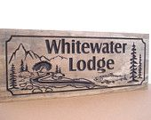 Wood Sign Indoor / Outdoor Wooden Carved Lake House Cottage Rustic Cabin Welcome Signs Pine Tree wood carved Sign Carved Address Plaque #62