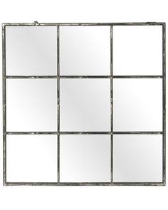 mirrordeco.com — Large Window Frame Mirror - Distressed Black Frame W:118cm Square Windows, Large Windows, Window Pane Mirror, Mirror Work, Black Metal, Industrial Style, Pomax, Frame Decoration, Decorative Mirrors