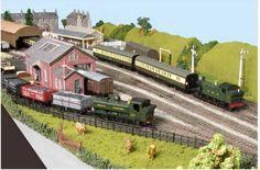 2 tank engines shunting trucks and coaches N Scale Model Trains, Model Train Layouts, Scale Models, Train Ho, Model Railway Track Plans, British Rail, Train Tracks, Scenery, Mansions