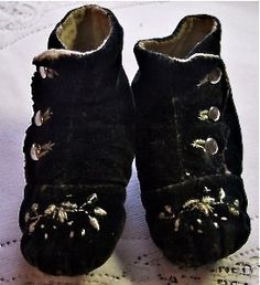hand embroidered black velvet baby shoes ... ca. 1890