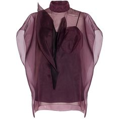 Delpozo Organza Blouse ($1,901) ❤ liked on Polyvore featuring tops, blouses, burgundy, sheer slip, transparent blouse, full length slip, sheer blouses and purple blouse