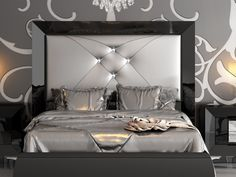 Silver and Black Headboard Color Master Bedroom Interior, Master Bedroom Design, Double Bed Designs, Bedroom Furniture, Bedroom Decor, Black Headboard, Headboard Designs, Luxurious Bedrooms, Decoration