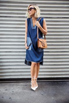 How to Style a Denim Dress For Spring 2015 - denim sheath dress with contrast pockets + neckline, styled with white lace up pointy toe heels