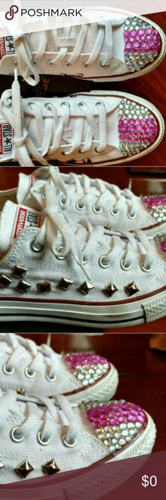Customize🎉 All Star⭐ Crystal Toe/ Stud Designs (Customer Request) You tell me what you want and I doy best to create it! All sizes and Styles from 0-3mo./ Adult size:11 All Star Shoes Sneakers