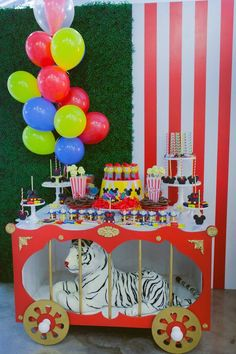 Dessert Table from a Mickey Mouse Circus Birthday Party via Kara's Party Ideas!