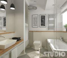 biało-szara płytka gresowa ułożona w karo,szare szafki z drewnianym blatem i czarne wiszace lampy nad prostokatna umywalką,czarno-białe grafiki na ścianie w łazience - Lovingit.pl