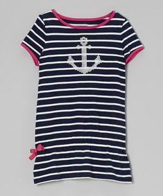 Look at this #zulilyfind! Naval Blue Stripe Anchor Tee - Girls #zulilyfinds