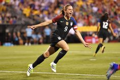 Heather O'Reilly after scoring just minutes into her final U.S. match, against Thailand on Sept. 15, 2016, at MAPFRE Stadium in Columbus, Ohio. (Jamie Sabau/Getty Images)