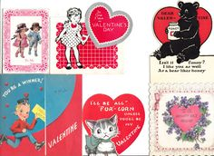 Vintage Valentine's Cards Lot of 6 Mixed Subjects 1940-50s D #Valentinesalldifferent