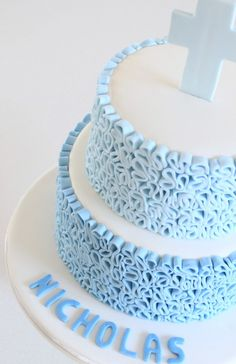 Blue ombre christening cake