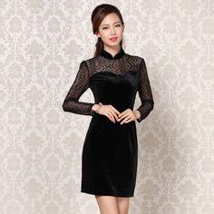 Elegant Long Lace Sleeves Modern Short Velvet Qipao - Black - Qipao - Cheongsam - Women