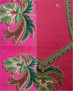 Wedding Saree Blouse Designs, Saree Blouse Neck Designs, Dress Neck Designs, Embroidery Stitches Tutorial, Hand Embroidery Designs, Kaftan Moroccan, Maggam Work Designs, Simple Blouse Designs, Thread Work