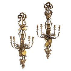 Spectacular Pair of Italian Oversized Giltwood Sconces