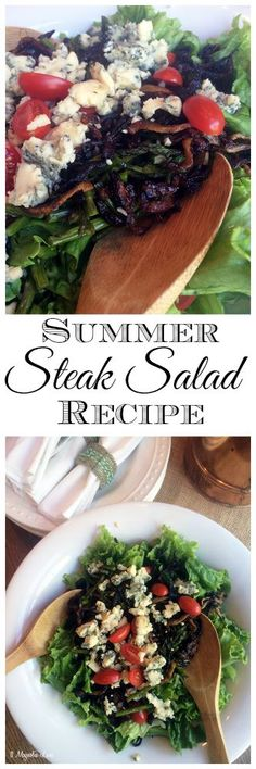 Delicious and easy summer steak salad recipe with crumbled blue cheese and carmelized onions.  Yum!
