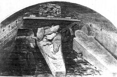 A drawing of the vault beneath St. George's Chapel, showing the coffins of Henry VIII, Jane Seymour, Charles I, and  an infant of Queen Anne, from the 1813 discovery during William IV's reign.