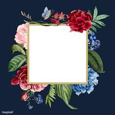 premium vector of Blank floral frame card illustration 471715 Blank floral frame card illustration Rose Frame, Flower Frame, Floral Pattern Wallpaper, Flower Backgrounds, Vintage Backgrounds, Butterfly Frame, Plant Illustration, Background Vintage, Vintage Flowers