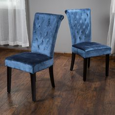 Fordash Contemporary Blue Tufted Fabric Dining Chair (Set of 2)
