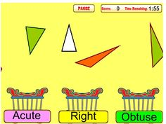 Classifying Triangles:  Classify triangles as acute, right, or obtuse by dropping them in the correct basket.  Timed and scored--mistakes lose points.
