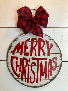 Rustic Christmas bell with a red and black buffalo plaid wired bow. Great idea for an office party gift, secret pal, neighbor gift or a keeper for yourself! *** All measurements are approximate *** M Primitive Christmas, Merry Christmas, Diy Christmas Lights, Farmhouse Christmas Decor, Christmas Bells, Christmas Signs, Rustic Christmas, Christmas Projects, Holiday Crafts