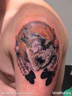 wolf and dreamcatcher tattoo by Mirek vel Stotker - Tattoo Artists.org
