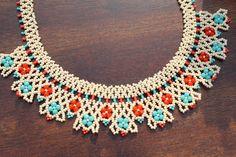Mexican Huichol Necklace Earring Set Handmade by OjoDeVenado