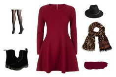 """""""Cranberry Holiday Fun"""" by stgs on Polyvore featuring Apricot, Dr. Martens, BeckSöndergaard, Diane Von Furstenberg and Avenue"""